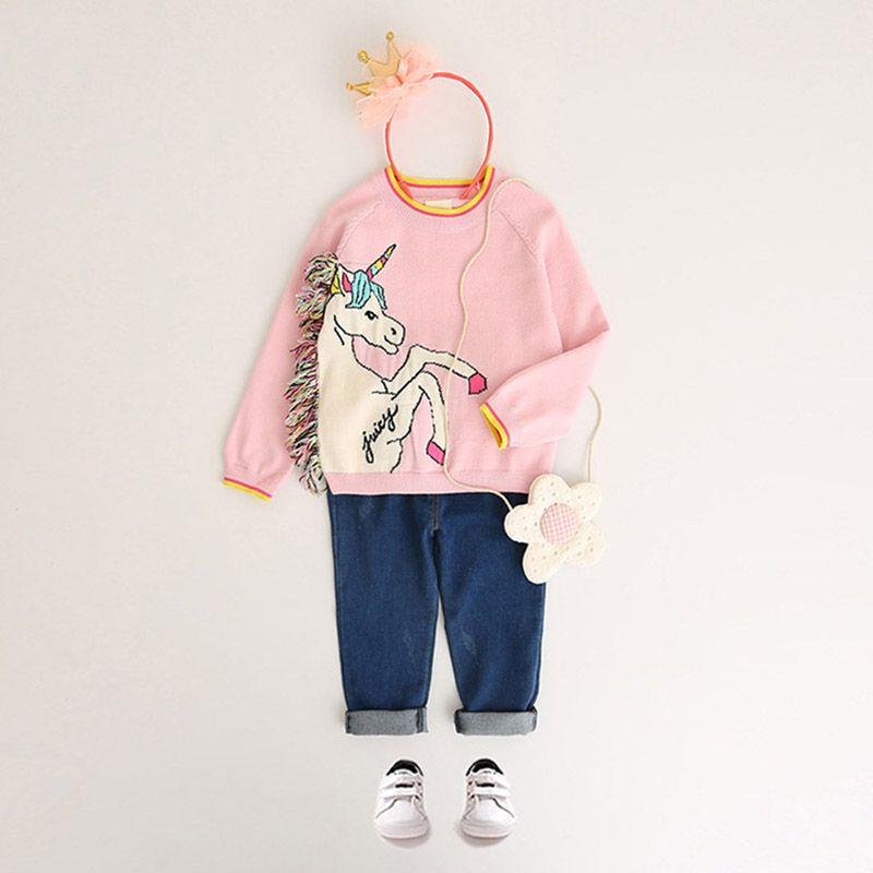 Unicornio suéter de las muchachas suéter de la borla colorida blanco pequeño Pony princesa de algodón rosado de los niños al aire libre 2-8T