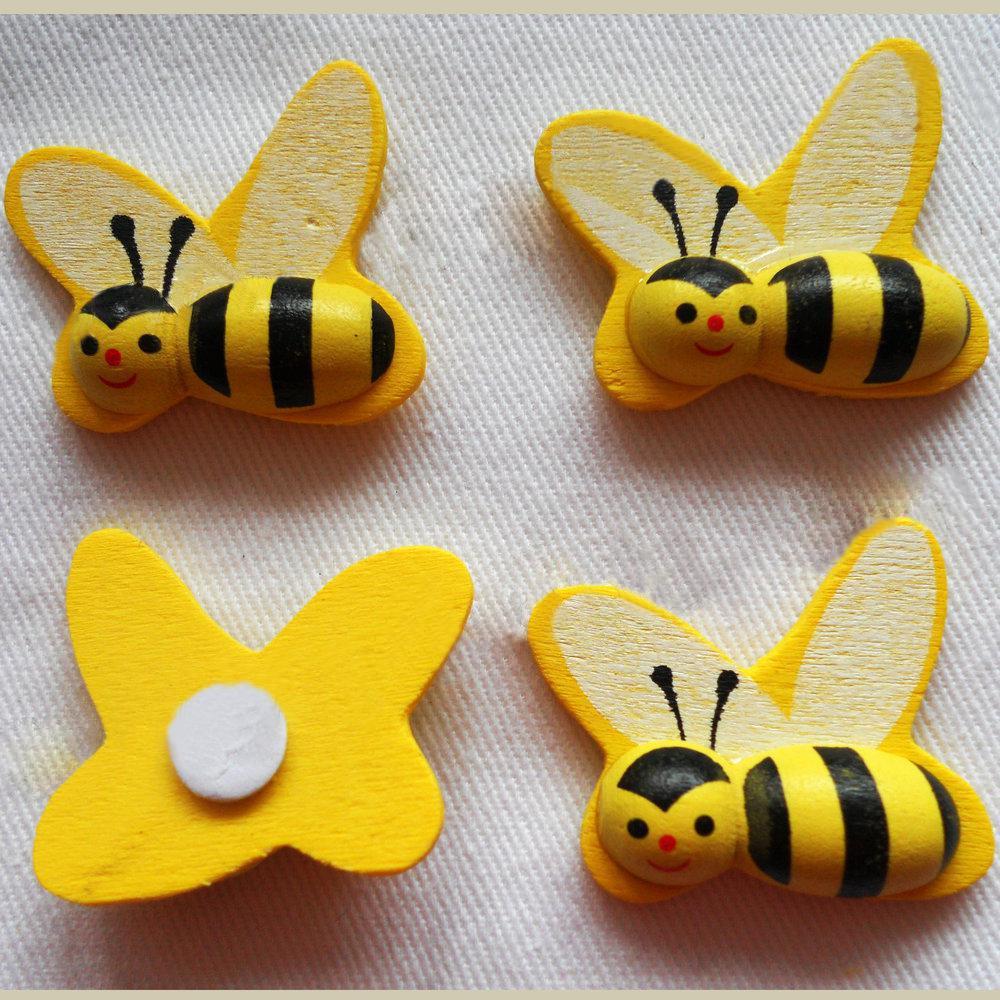 50st / Lot, 25x28mm, Big Wood HoneyBee Svamp Klistermärken, 3D Bumble Bee Sticker, Påskdekoration, Kylskåp Klistermärken, Kids Toys.OEM