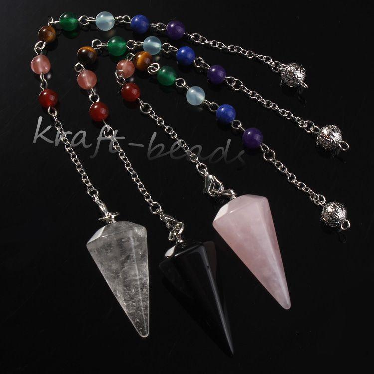 10pcs argento placcato 7 perline catena naturale di cristallo di rocca quarzo rosa agata pietra esagono piramide guarigione chakra pendolo gioielli ciondolo
