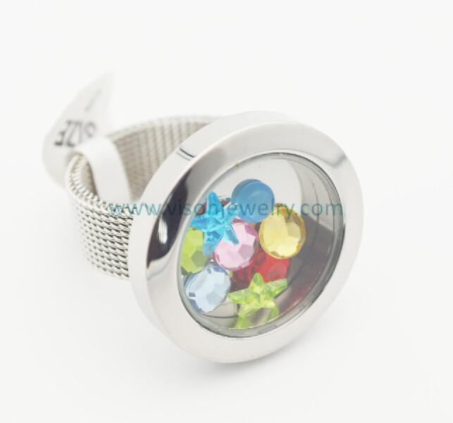 25mm Stainless Steel Plain Silver Glass Memory Locket Rings with mesh band