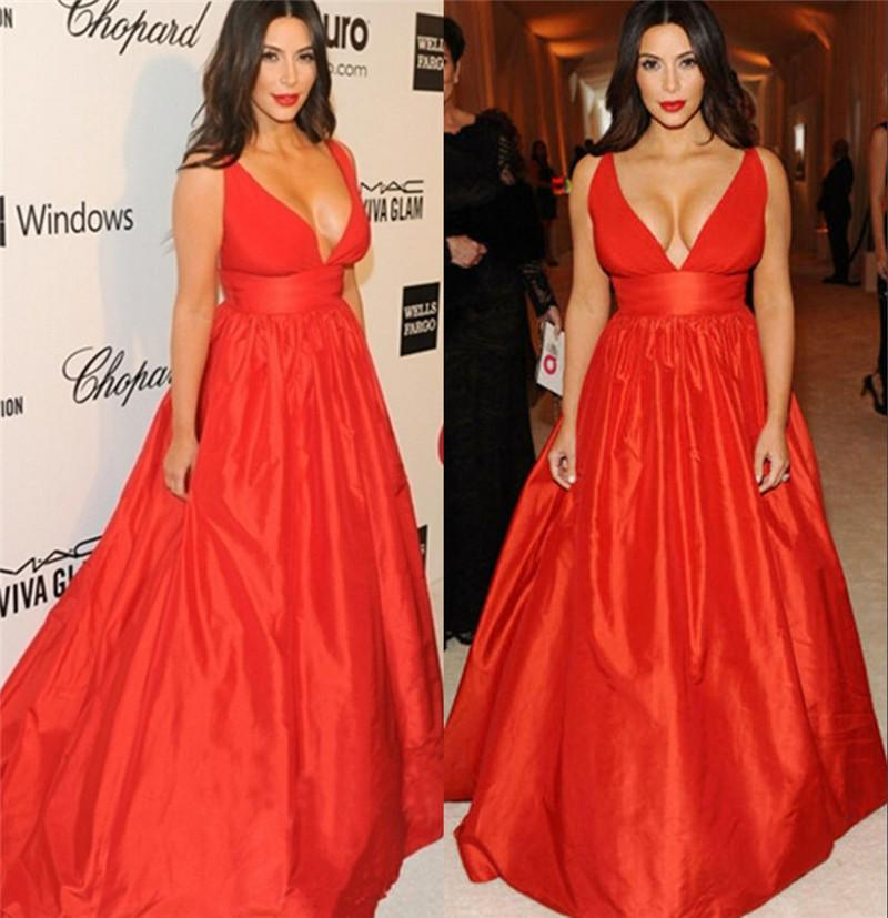 Kim Kardashian Red Carpet Celebrity Evening Dresses 2016 A Line V ...