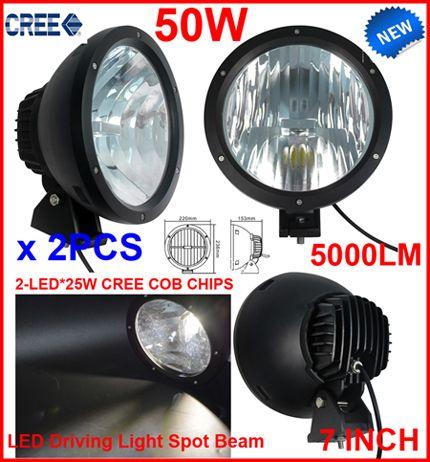 "NEW 2PCS 7"" 50W CREE LED Driving Work Light 2-COB*25W CHIP Offroad SUV ATV 4WD 4x4 Spot Pencil Beam 12/24V 5000lm Xenon White 6K Replace HID"