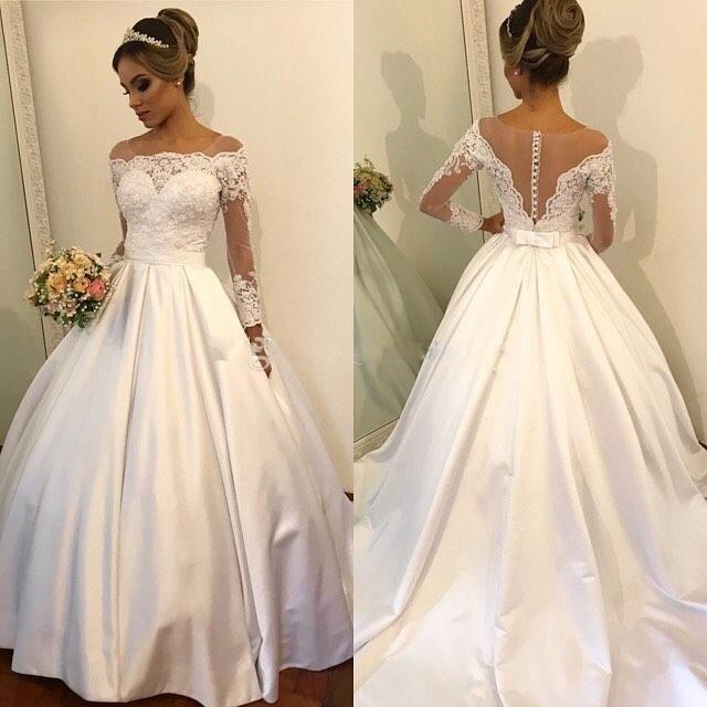 الوهم كم طويل فساتين الزفاف شير الرقبة سكوب الكرة ثوب الدانتيل القوس الساتان نرى من خلال العودة أثواب الزفاف مخصص الحجم