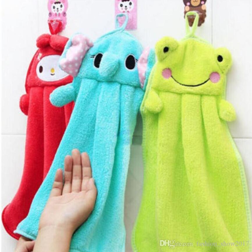 Baby Nursery Hand Towel Baby Bath Towels Toddler Soft Plush Cartoon Animal Wipe Hanging Bathing Towel