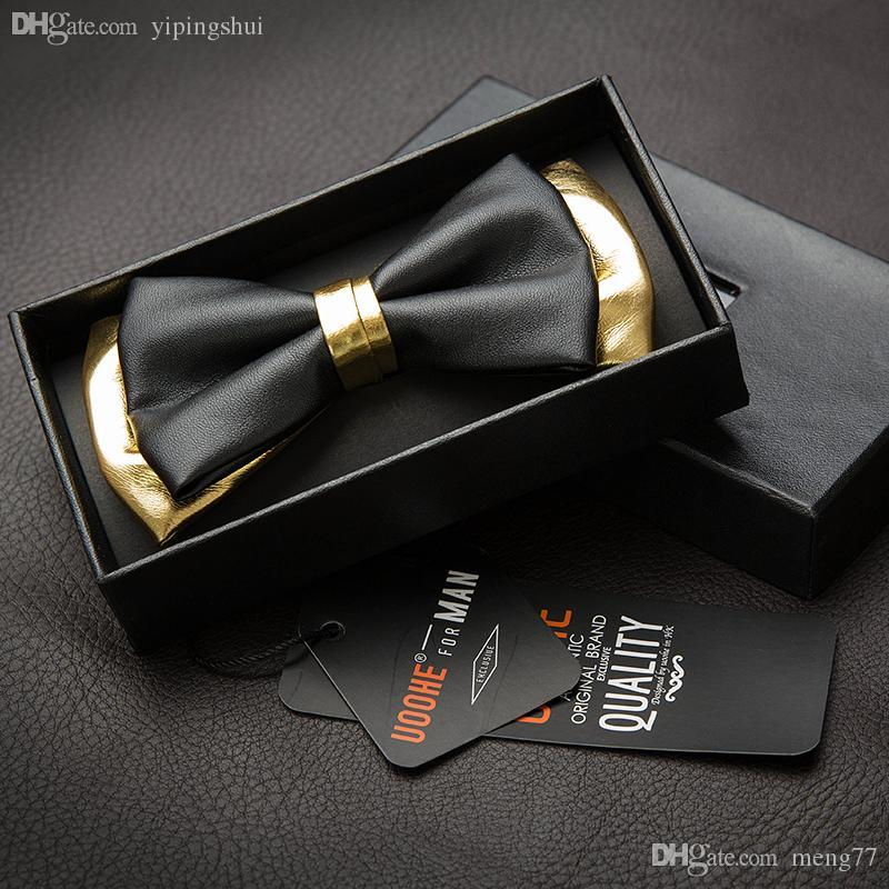 ed2ade7f4991 High quality men bow tie black gold color male leather PU butterfly tie  formal suit wedding groom tie