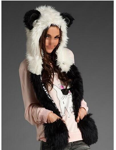Winter Faux Fur Full Animal Wolf Hood Hat 3-in-1 Mittens Cartoon Scarf Gloves Spirit Paws Ears