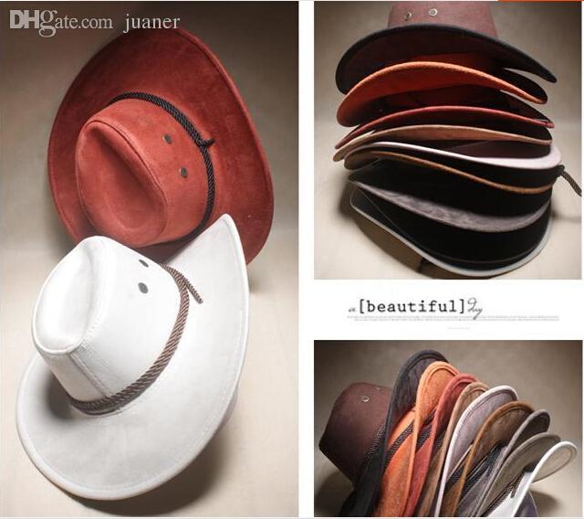 Vente en gros-2019 New American Western Cowboy hat cap Livraison gratuite Hollywood Style Party Costume voyage en cuir vache garçon chapeau de paille cowboy hat