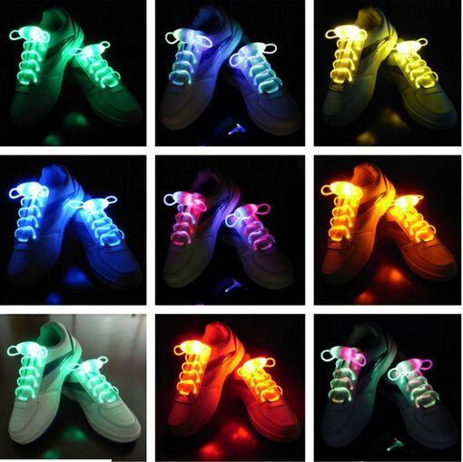 شحن مجاني الألياف البصرية الصمام الأحذية الأربطة أحذية الحذاء النيون أدى ضوء قوي وامض رباط الحذاء بالجملة! 200pcs / lot (100Pairs)