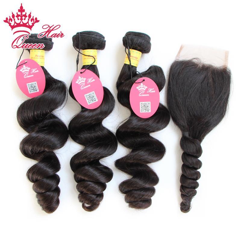 Queen Hair 4PCS / Parti 100% Peruanska Virgin Hair Extensions Weft Human Loose Weave 3pcs Hair Bundle + 1pc Lace Closure