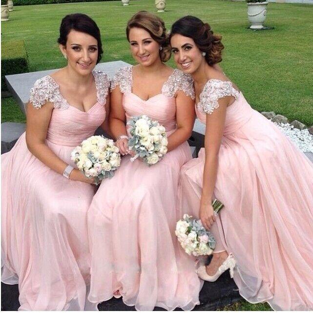 Chiffon elegante A linha do casamento da dama de honra vestidos fora do ombro com mangas Cap Lace Apliques de lantejoulas Frisada Evening Vestidos