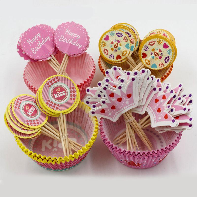 Рождественская вечеринка кекс обертки лайнеры с Топпер выбирает 48 дизайн Эко дружественных цвет торт Кубок лоток украшение партии SD821