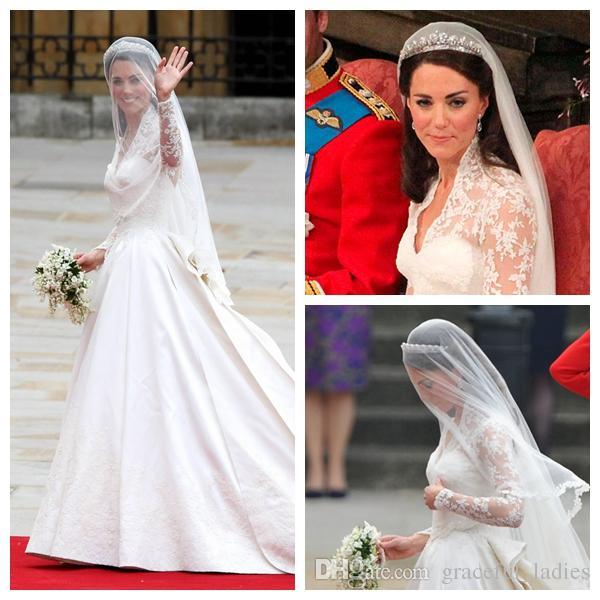 Kate Middleton Suknia ślubna Welony ślubne Koronki Krawędź Jedna Warstwa Vintage Akcesoria dla nowożeńców do Brides Chapel Długość 150 cm Handmade