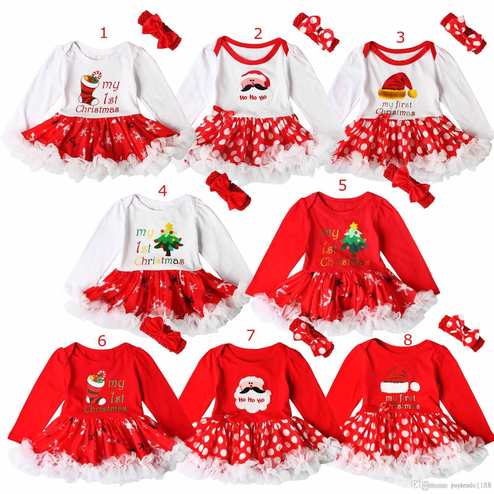 ГОРЯЧАЯ Рождественская Вечеринка Baby Girl Ромпер набор Рождество Санта-Клаус Загрузки Письмо печати Дизайн с длинным рукавом ползунки пачка платье + оголовье из двух частей наборы