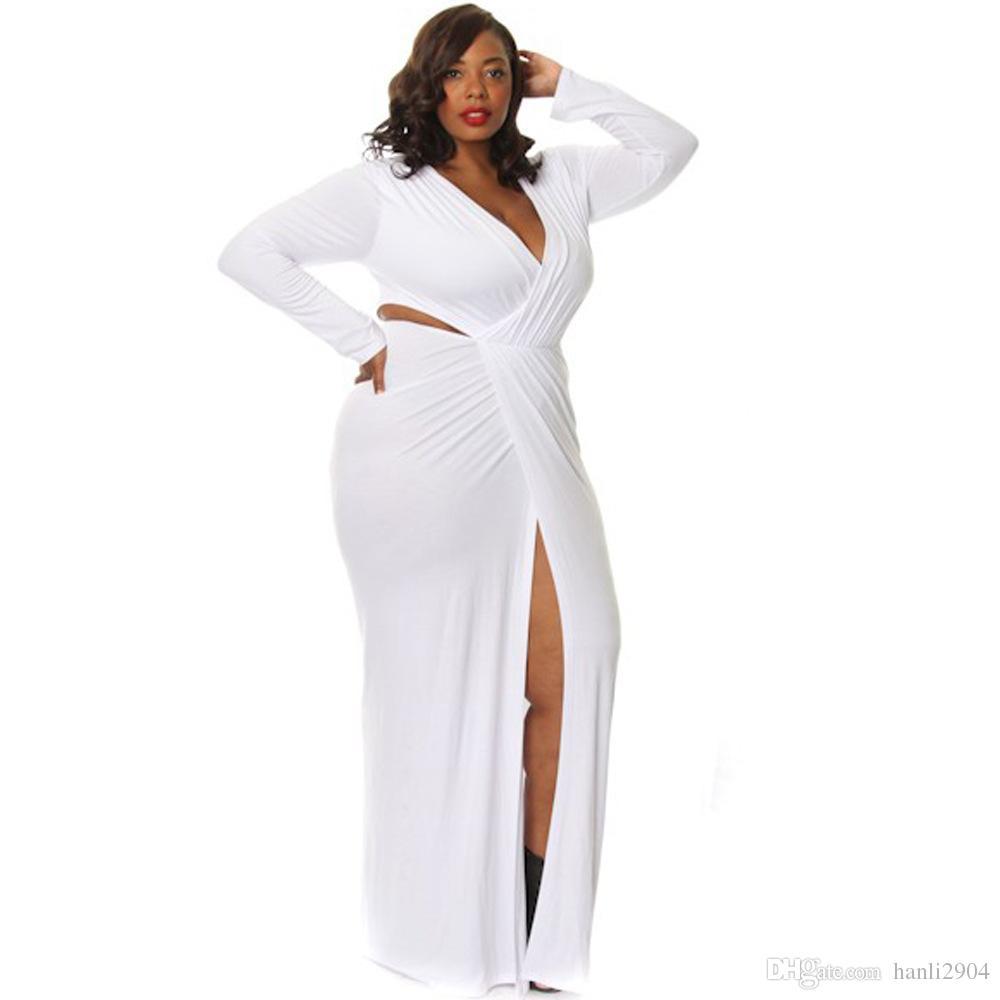 Wholesale Womens Plus Size Long Sleeve Maxi Dress Split V Neck ...