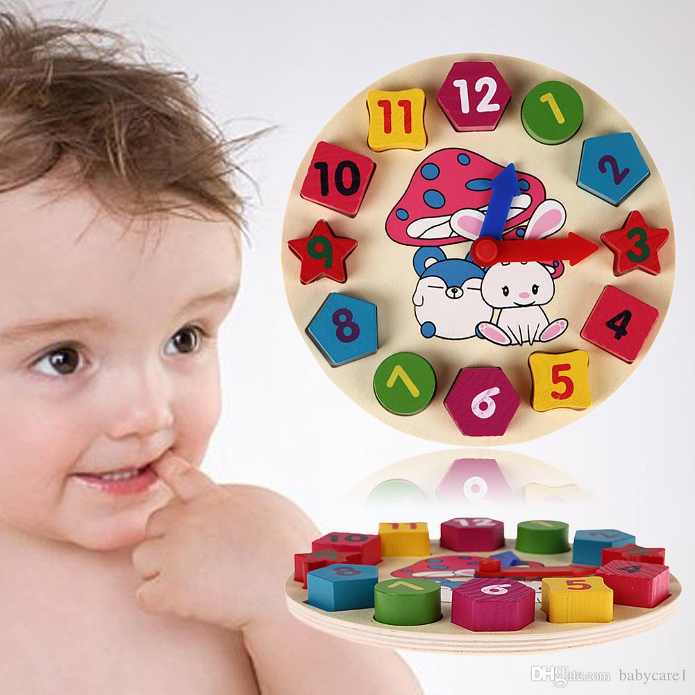 나무 12 숫자 시계 장난감 아기 다채로운 퍼즐 디지털 기하학 시계 교육 시계 장난감 높은 품질 어린이위한 어린이 선물