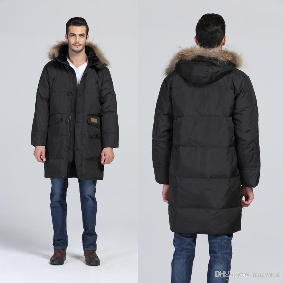 In Stock Mens Down Parka Fur Collar Winter Thick White Duck Down