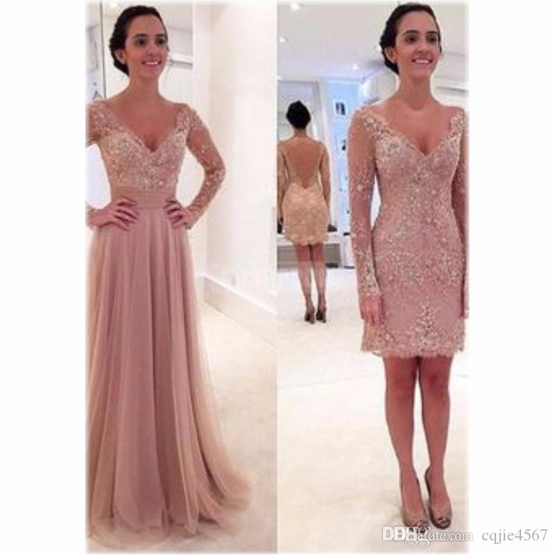 New Dusty Pink Lace Hijab Evening Dresses with Detachable Skirt V Neck Long Sleeve Cheap Latest Gown Design Formal Prom Dressess 132