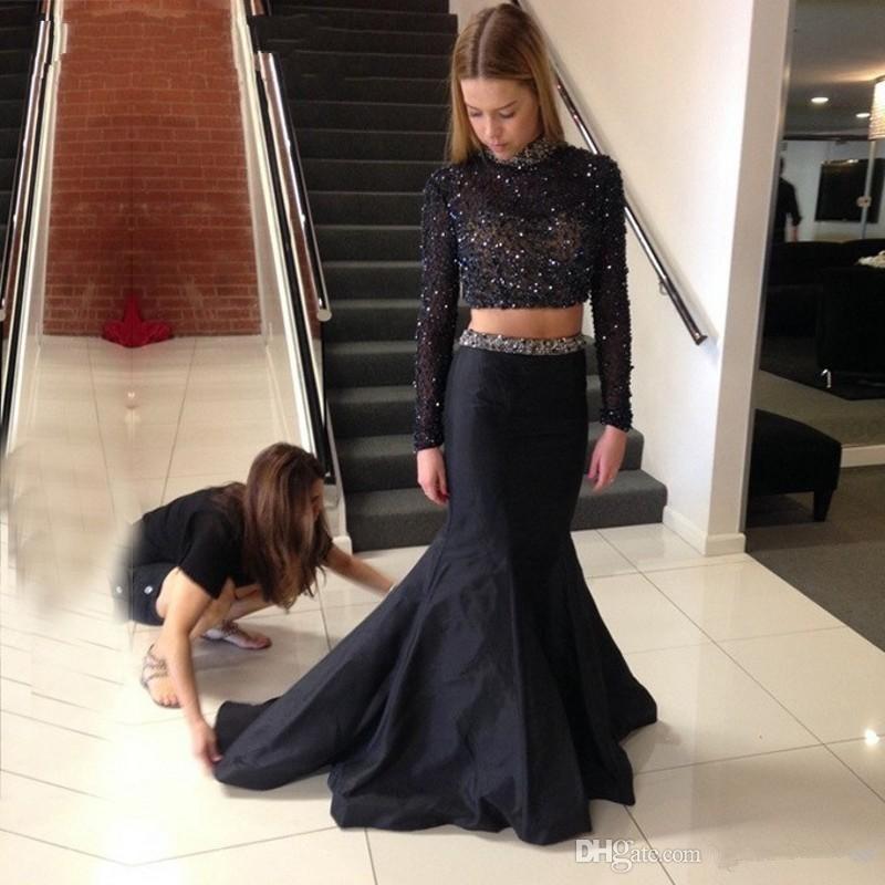 두 조각 긴 소매 검은 색 댄스 파티 드레스 빛나는 구슬 크리스탈 정장 이브닝 드레스 vestidos de festa 높은 목 페르시 칼라 파티 드레스