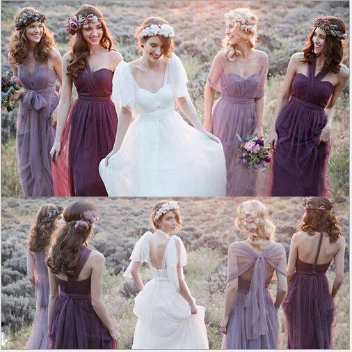 $ 69 En Stock Romantique Convertible Demoiselles D'honneur Robes 2015 Longueur De Plancher De Jardin Tulle Robes De Fête De Mariage Pas Cher Robes De Demoiselle D'honneur