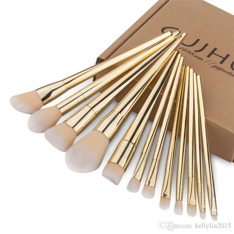 12 pcs Makeup Brushes Sets Beauty Full Set Nylon Foundation Eyeshadow Powder Lip Brush Silver Rose Gold Cosmetic Make up Brushes Kit Tools