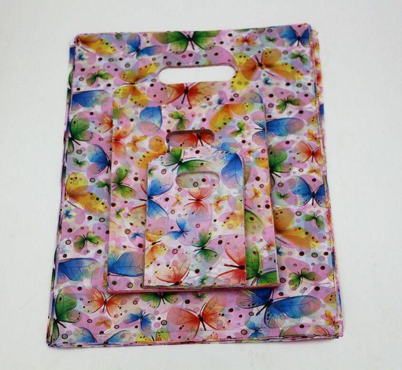 Jewelry Pouches.100pcs  Butterfly Plastic Bags Jewelry 9x15cm Gift Bag