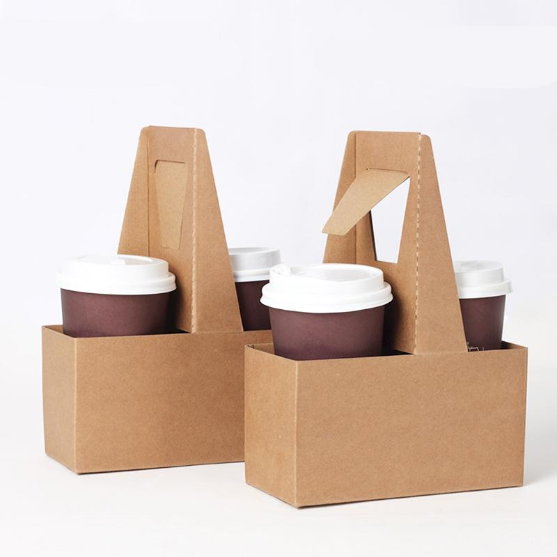 Take-out Kraft Paper Cup Holder Clip Disposable Coffee Drink Tray Base with Handle for 2 cup Party Supplies 10pcs/lot SK801