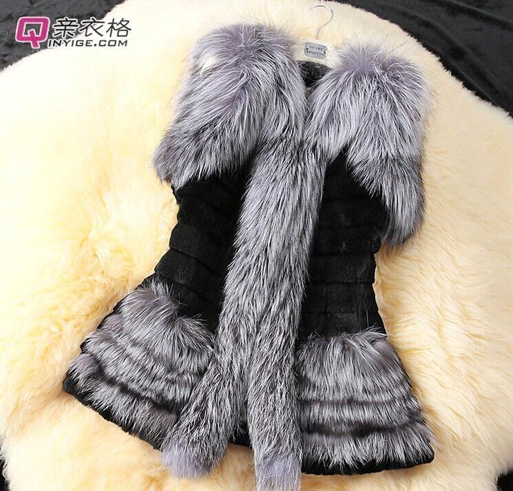 Nowa kobieta Moda Imitacja Silver Fox Wełna Rabbit Włosy Imitacja Futro Kamizelka Kamizelka Rozmiar S-XXL WTC552