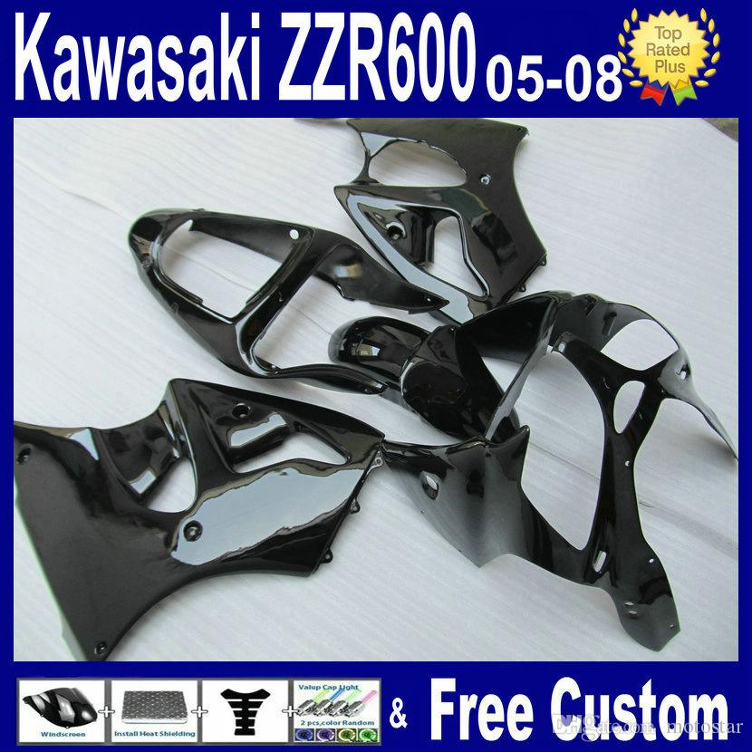 kawasaki zzr600フェアリング2005 2006 2007 2008 ZZR 600および2000-2002 ZX6R注入フェアリングキットのためのすべての光沢のあるブラックフェアリングキット
