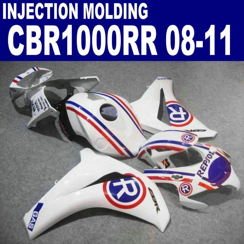 Injection molding bodywork set for HONDA CBR1000RR 2008-2011 fairings CBR 1000 RR white blue REPSOL custom fairing kit 08 09 10 11 #U62