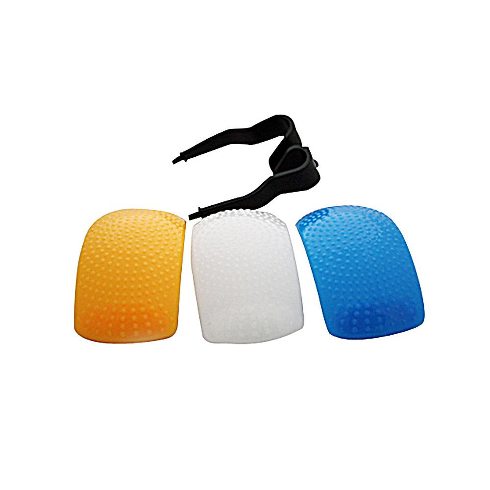 New 3pcs Puffer Pop-Up Flash Soft Diffuser Cover Dome for Speedlite Canon Nikon Pentax Camera DSLR White Yellow Blue Color