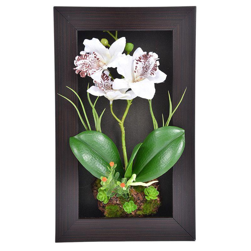 홈 장식 3D 시뮬레이션 식물 프레임 인공 꽃 난초 배열 테이블 탑 장식 벽 마운트 조각 3 분기