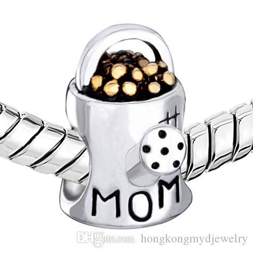 Mom charms waterling flower pot Big Hole European Spacer Bead Fit Pandora Chamilia Biagi Charm Bracelet