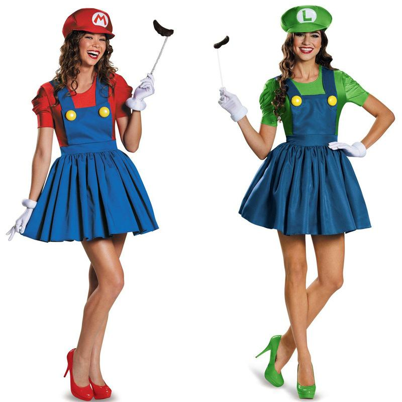 5 Piece Women's Red Green Super Mario Plumbers Couples Costume Dress Masquerade Halloween Party Cosplay for Lady Girl One Size