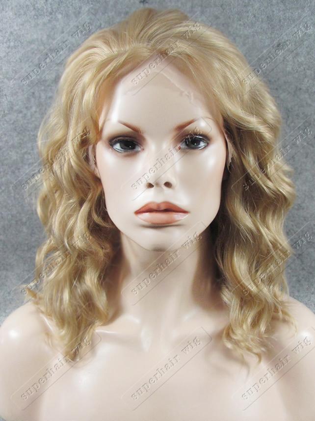 Ash Blonde Chic Средних Длинной Мода Кружево фронт тепло Безопасного волокно повелительница Стильного Celebrity Wet фигурные парик Природные S17