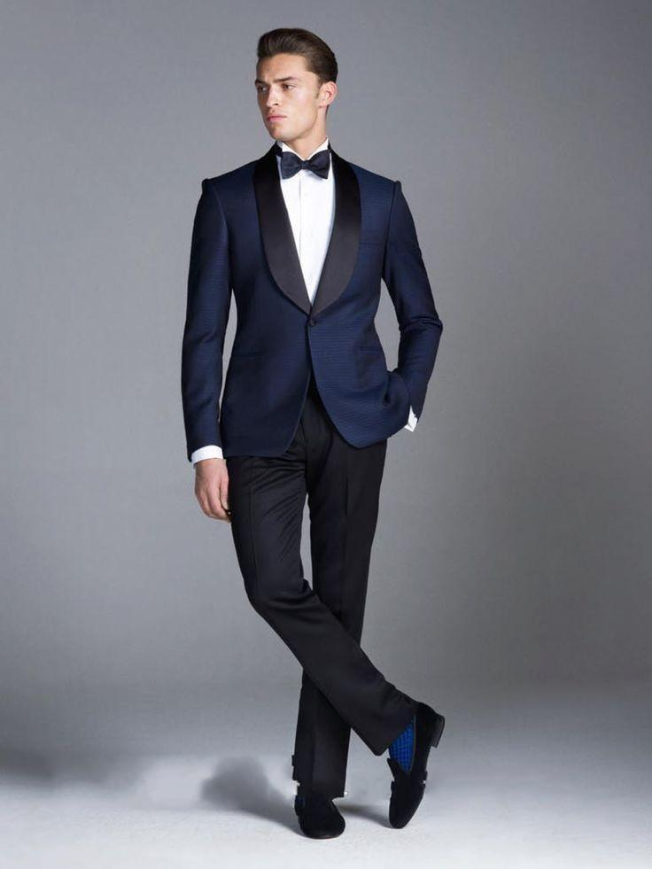 New style 2015 blue wedding suits for Men black shawl Lapel groom ...
