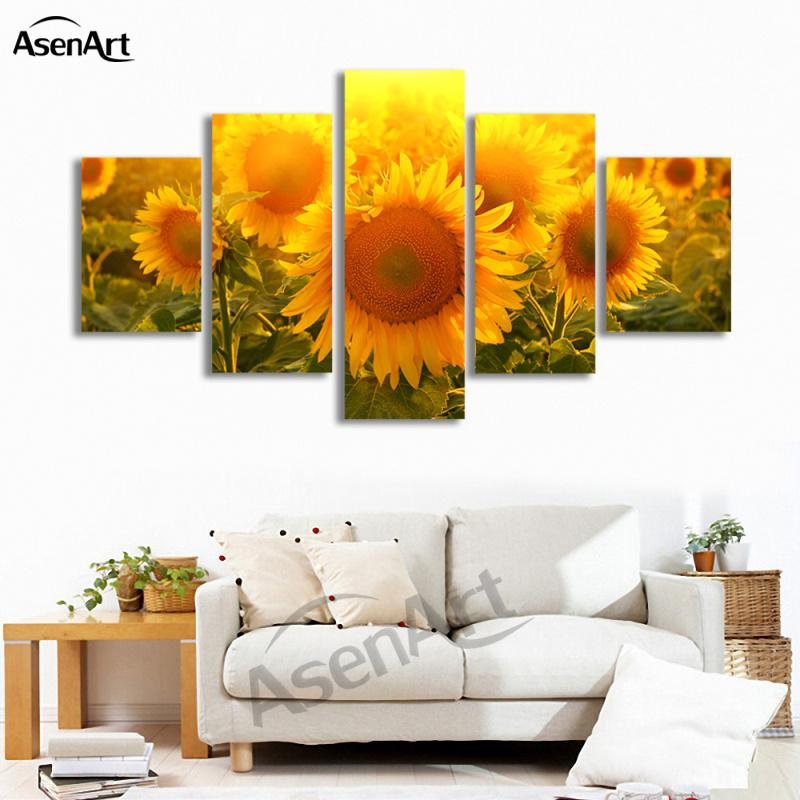 5 Pièce Mur Art Grand Peinture De Tournesol Moderne Peintures Florales Impressions Sur Toile Fleurs Image pour Chambre Décor Encadrée Dropshipping