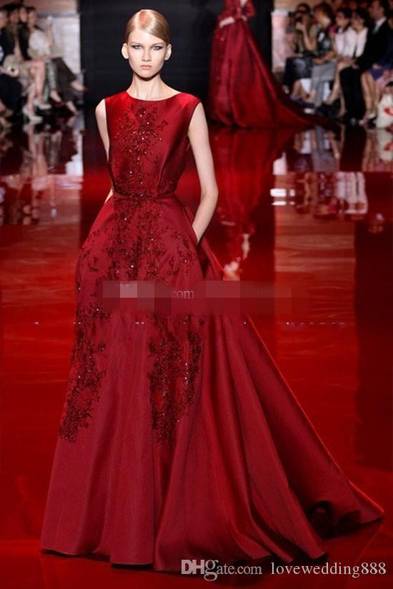 Взлетно-посадочная полоса Elie Saab Вечерние платья A-Line Атласные платья выпускного вечера с карманами Кружевные аппликации Длинное вечернее вечернее платье