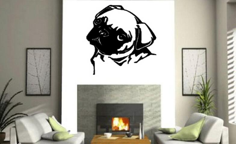 PUG DOG WALL ART Sticker Mural Giant Large Decal Vinyl For Home Decoration Free Shipping