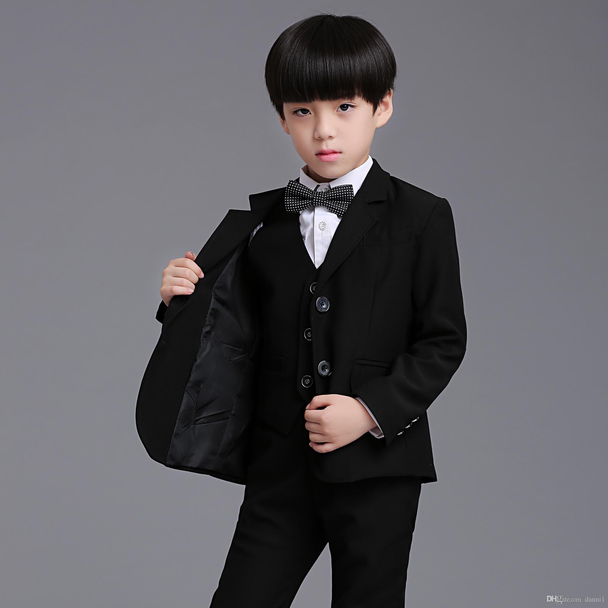 Nueva moda 3pcs traje y chaleco Niños Boy traje de vestir Escuela Piano Prom ropa Boy's Formal desgaste accesorios