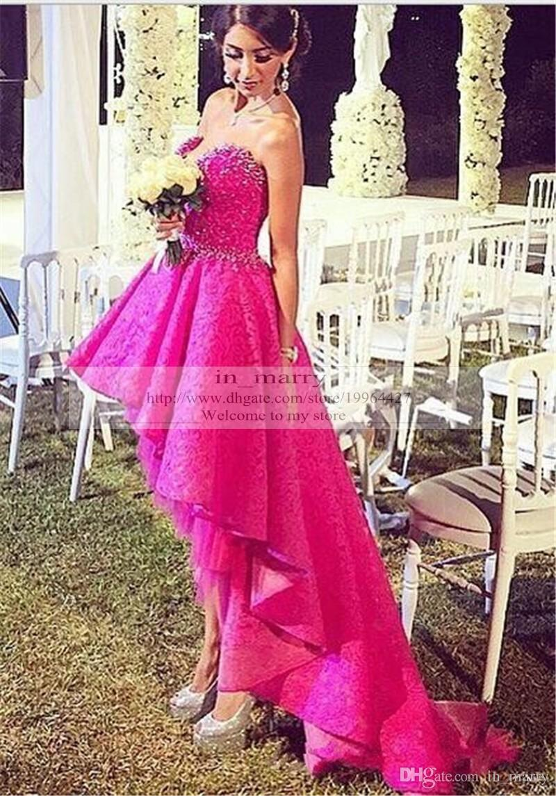 Hot Pink High Low Arabic Prom Dresses 2016 Real Images Vintage Lace ...