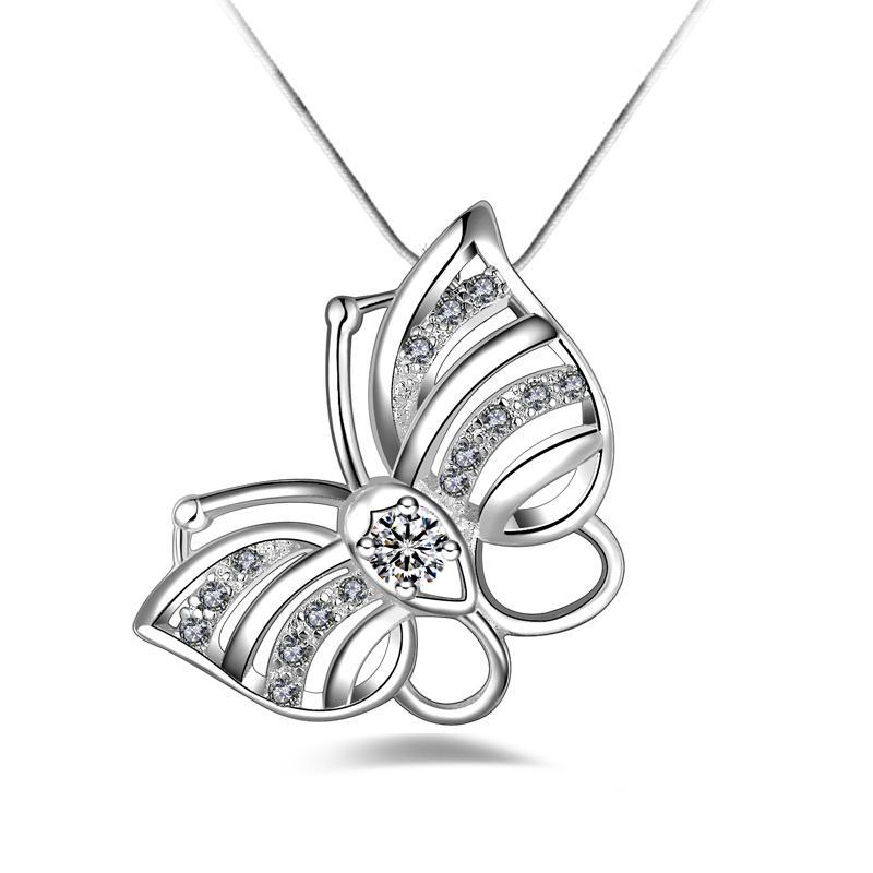 Livraison gratuite mode haute qualité 925 argent papillon Wthie diamant bijoux collier en argent 925 cadeaux de vacances de Saint Valentin Hot 1675