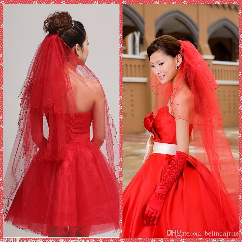 العاج الأحمر الزفاف الحجاب مطرز حافة الزفاف الحجاب ل أحداث الزفاف 3 طبقات 1.5 متر الزفاف الحجاب قصيرة الحجاب الزفاف طول الإصبع