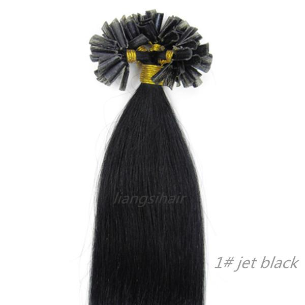 "Nail-hair extensions straight 15""-26"" 100s 1# Jet Black, Wholesale Prices Brazilian Indian Peruvian Malaysian U-tip Remy Human Hair bundles"