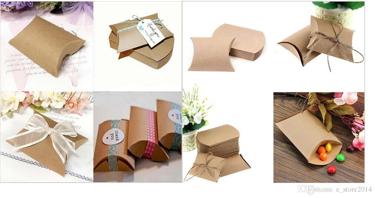 Fashion Hot Cute Kraft Paper Pillow Gift Box Wedding Boxes Favor ...