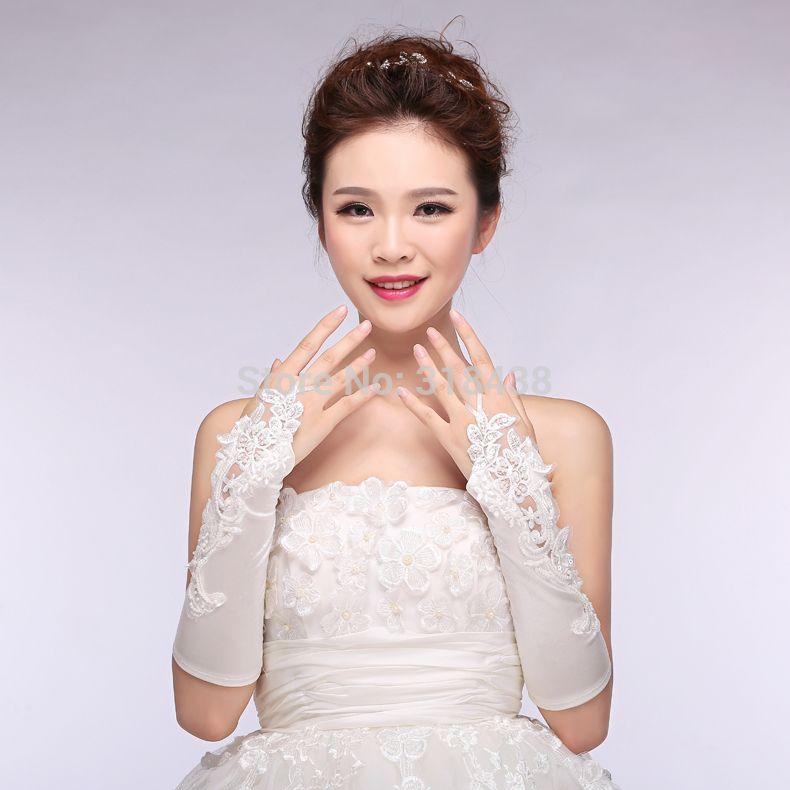 2020 Кружева Свадебные Перчатки Новые Горячие Продажа Мода Белый, слоновая кость Аппликации Перчатки из Бисера Свадебные Перчатки Свадебные Перчатки Без Пальцев