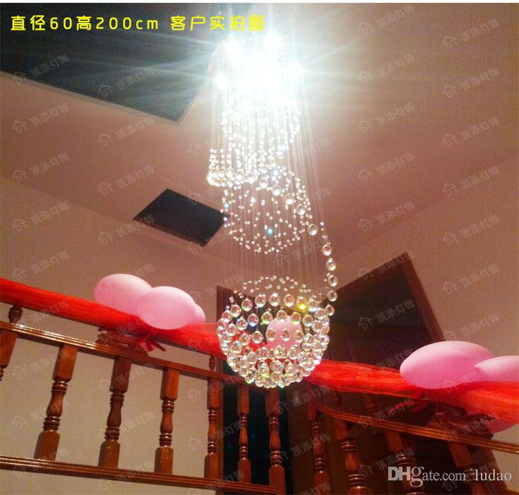 Moderne Kristall Kronleuchter Doppelte Eintrag Treppe Villa Wohnzimmer Lampe Kugel Drehen LED Messenger Draht Licht