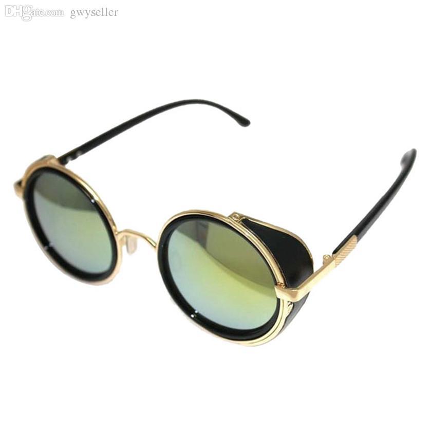 Groothandel-beste PrMirror Lens Ronde Bril Cyber Goggles Steampunk Zonnebril Vintage Retro Nov2317