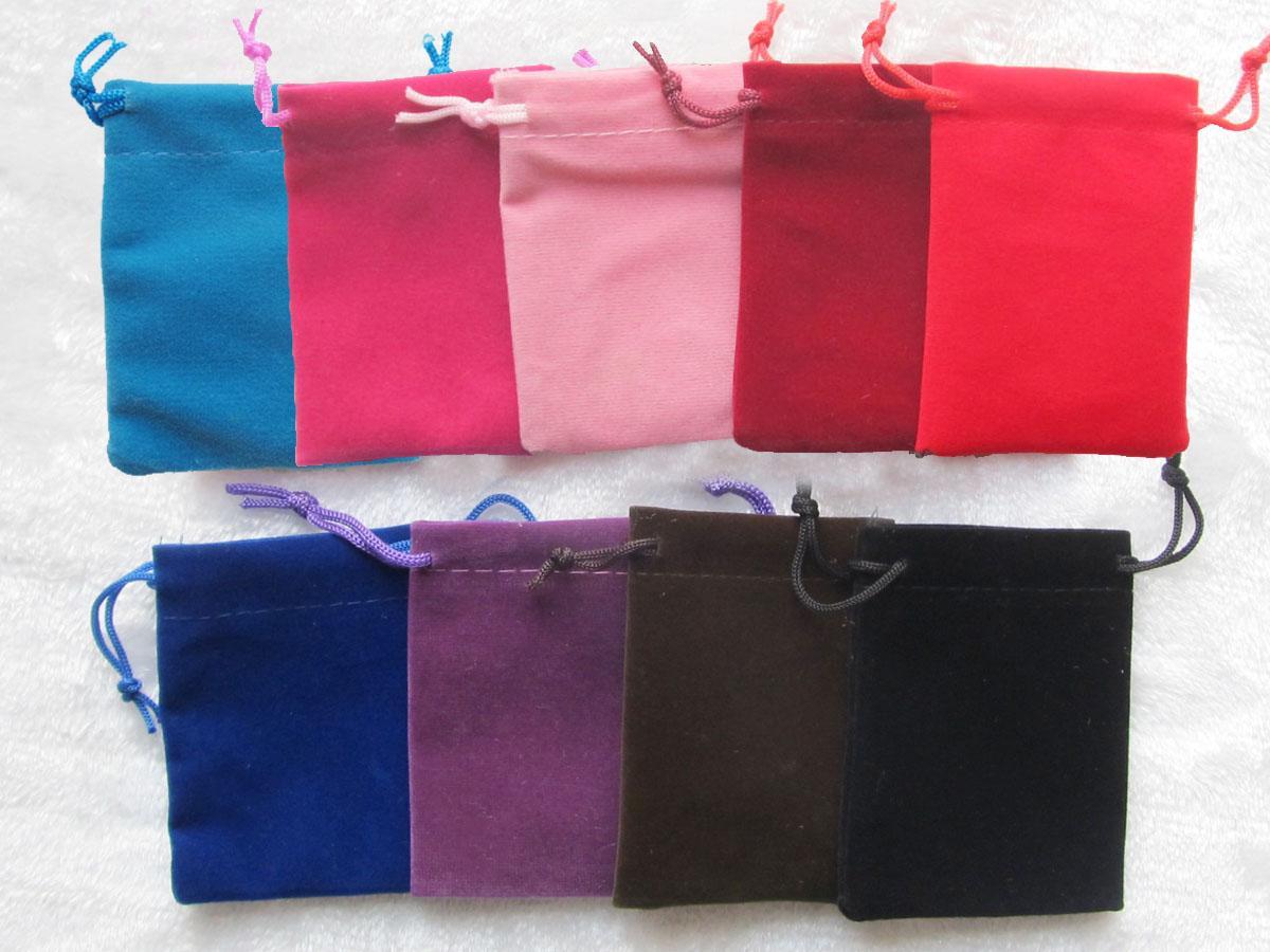 100 Pcs Rose Velours Velours Sac Pochette À Bijoux 7X9 cm Cadeau Sacs De Haute Qualité Multi Couleurs Bleu Noir Rouge
