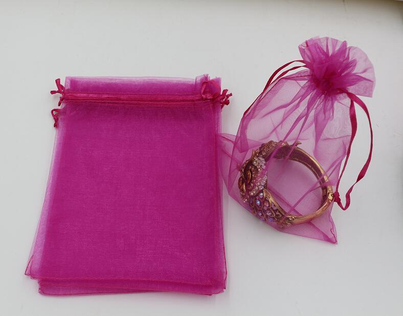تنزيلات حاره ! 100pcs التي روز الأحمر الأورجانزا حقائب مجوهرات الحقيبة هدية لحفل زفاف تفضل ، الخرز ، والمجوهرات 7x9cm 9X11cm 13 × 18. 20 × 30 سم (316)