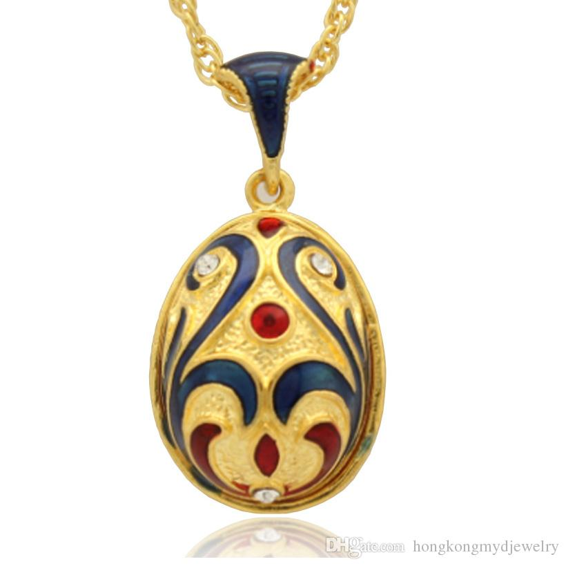 facial makeup in Beijing Opera Faberge Egg Charms Handcrafted Enamel crystal Easter Egg Locket for Russian Style Pendant Necklace